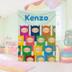 Crazy-Color-Kitties-Kids-Name-Blanket