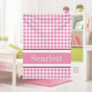 Pink-Gingham-Kids-Name-Blanket-with