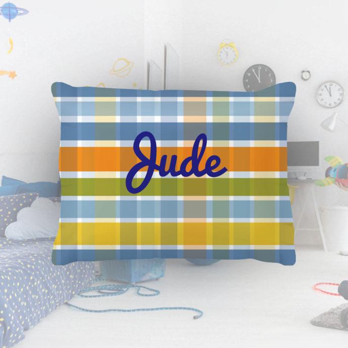 Blue-Plaid-Kids-Name-Pillowcase