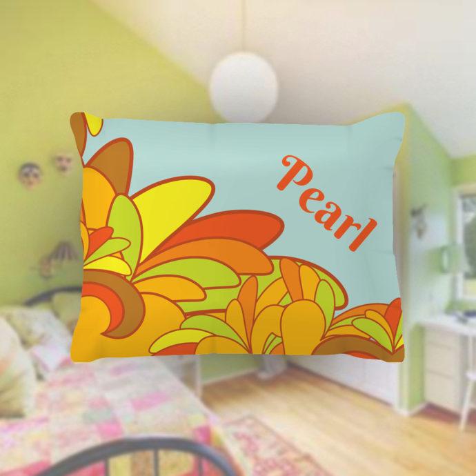 Flower-Power-Kids-Name-Pillowcase
