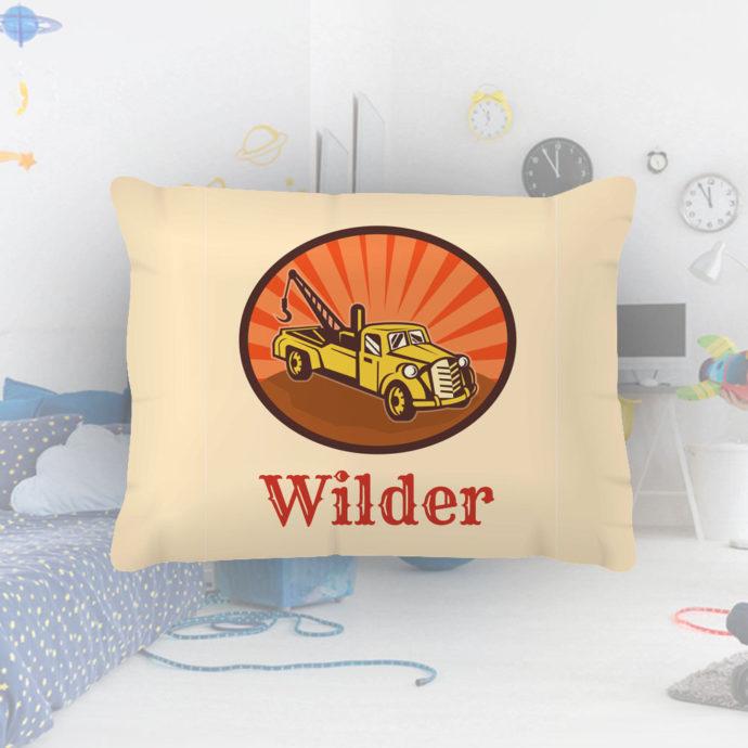 Tow-Truck-Kids-Name-Pillowcase